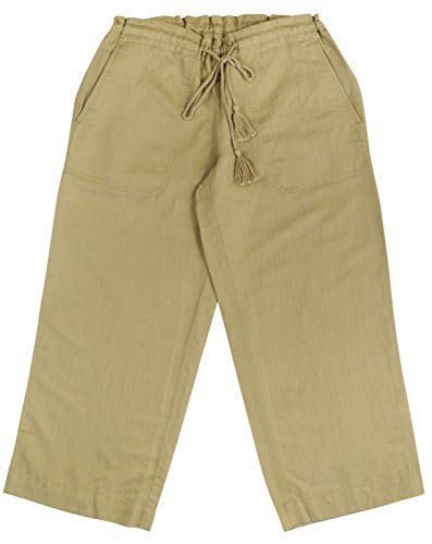 (Lauren Ralph Lauren Women's Cropped Linen Solid Comfortable Pants X-Small Khaki)