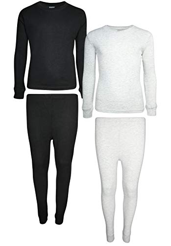 Only Boys 2-Pack Thermal Warm Underwear Top and Pant Set (2 Full Sets), Black/Heather Grey, 3T' (2t Thermal Underwear)