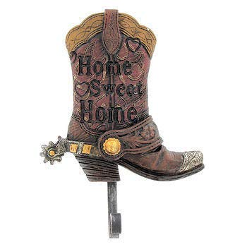 Heavy Resin Plastic Decorative Cowboy Boot - Wall Hook with The Words Home Sweet Home - Western Design for The Office, Home, Ranch & Etc - Leather Brown Color