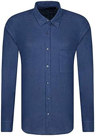 Hugo Boss Relegant - Camisa de lino con solapas de animales, color azul marino navy XS: Amazon.es: Ropa y accesorios