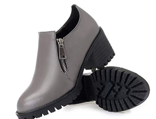 Alto Individuales Gray Tacón Mujer Zapatos De Cuero Shiney Grueso wBqzOx
