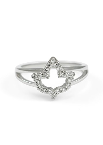 (The Collegiate Standard Sterling Silver Ivy Leaf Charm ring with simulated diamonds -)
