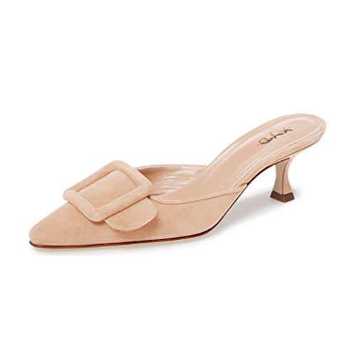 XYD Women Mule Pointy Toe Sandals Suede Slip on Low Kitten Heel Buckle Slide Shoes Size 12 Nude (Mule Kitten)