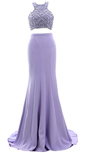 Two Lavender Prom Beaded Formal Dress Piece Long 2019 Evening Women Mermaid Gown Macloth R6qUxAq