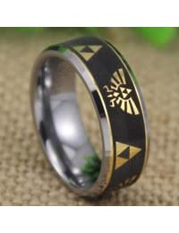 Tungsten Band with Beveled Edge Legend of Zelda Pattern Ring