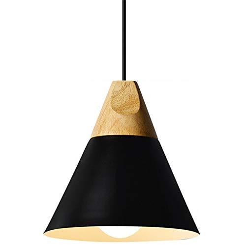 Yike-Lampe Luminaire Lustre Moderne, Moderne et Simple, vis E27, en Aluminium et Bois Massif, approprié pour Chambre à Coucher, Salle à Manger, Bureau, Noir (Moyen)