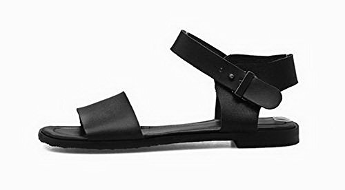 Women's Sandals Buckle Low Pu Open CA18LB05092 Toe Solid Black Heels WeenFashion TqdSwUS