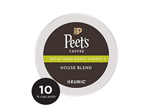 Peet's Coffee Decaf House Blend Dark Roast Coffee K-Cup Coffee Pods (10 Count) Decaffeinated Coffee