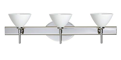 Besa Lighting 3SW-174307-CR 3X40W G9 Domi Wall Sconce with White Glass, Chrome Finish