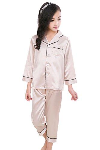 Horcute Pajamas Little Kid Sleepwears Set PJS Clothes Long Sleeve Champagne 100# 1-2Y