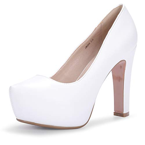 - IDIFU Women's IN5 Eva Classic Chunky High Heel Platform Dress Pump Shoes Round Toe Slip on Wedding Party Shoes (5 M US, White Pu)