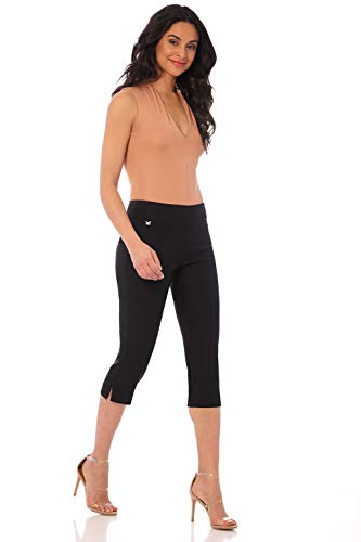 Rekucci Women's Ease into Comfort Straight Leg Capri w/Tummy Control and Secret Pocket (10,Black)