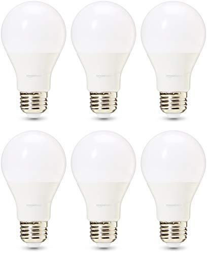 AmazonBasics Commercial Grade 25,000 Hour LED Light Bulb | 40-Watt Equivalent, A19, Daylight, Dimmable, 6-Pack