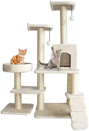 猫の木と塔、大型猫登山フレーム多層猫塔、猫スクラッチボード、ペット猫クラブセンター、猫ジャンププラットフォームと猫登山はしご、ベージュ (Color : Beige)