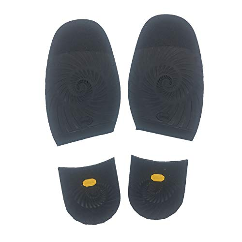 KANEIJI Shoes Rubber Half Sole and Heels, for Repair Leather Shoes, Different Colors, 1 Pair (Black)