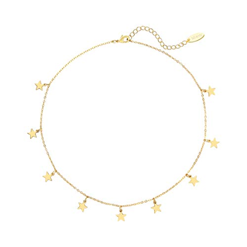 SEAYII Star Choker Necklace Gold Dangle Drop 14K Bracelet