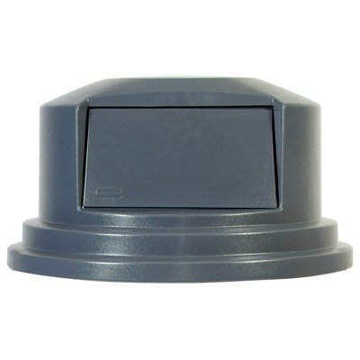 Round Brute Dome Top Lid with Push Door in Gray