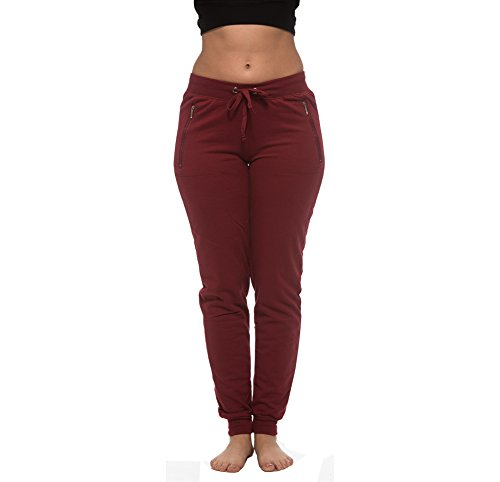 City Style Ankle Pant ([E177P-BG-M] Coco-Limon Fleece Womens Jogger, Long, Zipper Pockets,Burgundy,Medium)