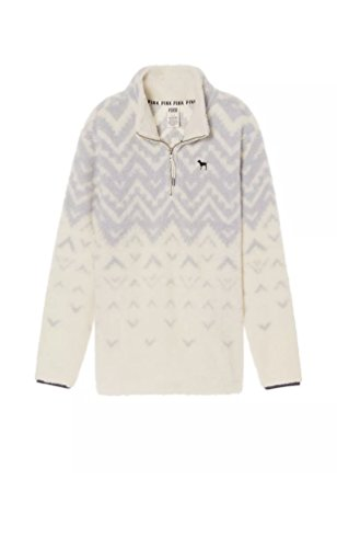 Victoria's Secret Pink Boyfriend Quarter-Zip Sherpa Fleece Sweater Winter White Blue Large