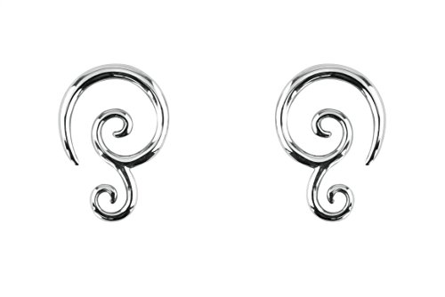 Forbidden Body Jewelry Pair of 14g (1.6mm) Surgical Steel Solid Tribal Design Taper Earrings