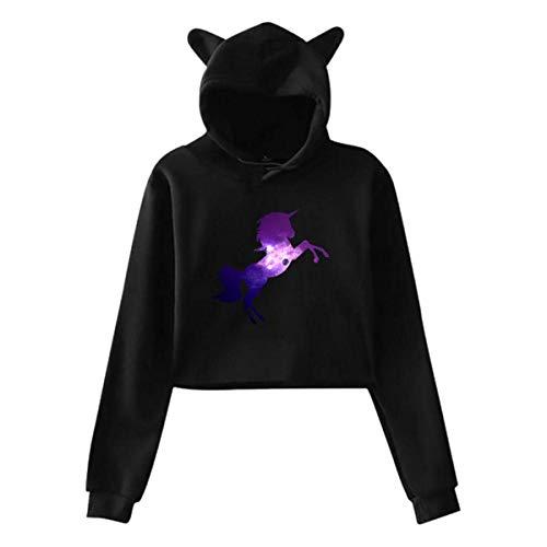 Galaxy Unicorn Teenager Girls Casual Cropped Cat Ear Hoodie Sweatshirt Pullover