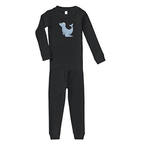 Fur Seal Playful Cotton Long Sleeve Crewneck Unisex Infant Sleepwear Pajama 2 Pcs Set Top and Pant - Black, 4T