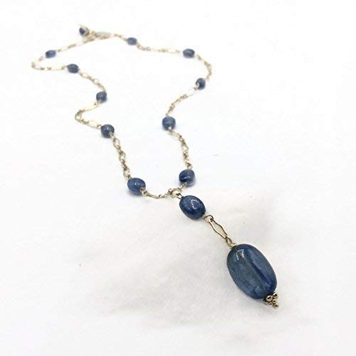 Royal Blue Kyanite 14k Gold Filled Gemstone Y Necklace | Handmade Unique Designer Fine Jewelry Gifts ()