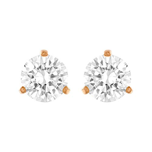 Swarovski Crystal Rose Gold-Plated White Solitaire Earrings