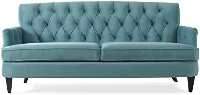 Jennifer Taylor Home Kelly Button Tufted Recessed Arm Sofa, Arctic Blue