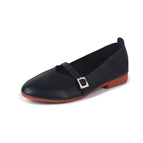 Casual Noir Ballerines Lanière Plats Ochenta Chaussures Marche Boucle Femme R8wnqFY