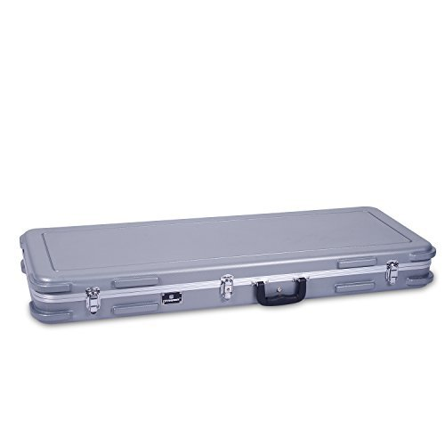 Crossrock CRA860BSL Bass Guitar Case ABS Molded for Both 4 String & 6 String, Silver -