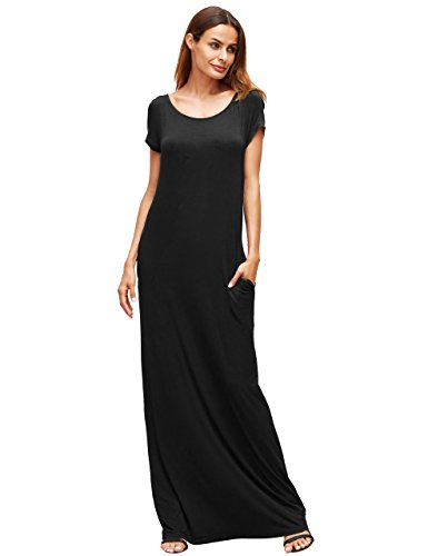 MakeMeChic Women's Short Sleeve Loose Casual Plain Long Maxi Dress Black - Dress Maxi Jersey