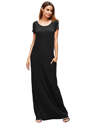MakeMeChic Women's Short Sleeve Loose Casual Plain Long Maxi Dress Black - Maxi Dress Jersey