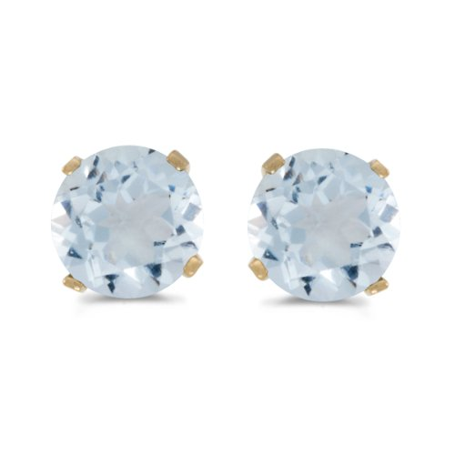 5 mm Natural Round Aquamarine Stud Earrings Set in 14k Yellow Gold (Gold 14k Marine Yellow)