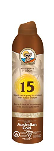 - Australian Gold Continuous Spray Sunscreen with Instant Bronzer, Immediate Glow & Dries Fast, Broad Spectrum, Water Resistant, SPF 15, 6 Ounce