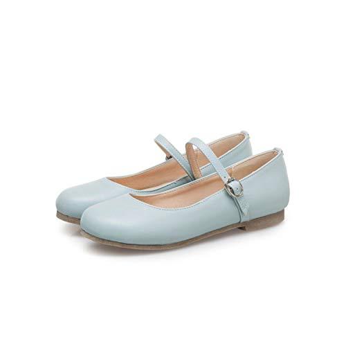 Jifnhtrs Women Flats Shoes Round Toe Girls Lady Leather Buckle Ballet Ballerina Flats Low Heel Loafers Sapato Footwear,Light Blue,35 ()