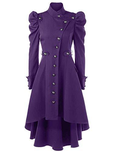 Huixin Manteau Femme Printemps Hiver Vintage Punk Gothique Noble Outerwear Loisir Costume Fashion Classic Asymmetric Machaon Trench Coat Lilas