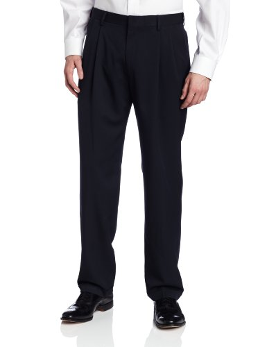 Haggar Men's Two Tone Herringbone Expandable Waist Pleat Front Dress Pant,Navy,40W x (Pleat Front Pant)