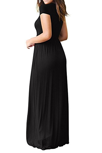 Loose Plain Dresses Maxi Women with Black Pockets Casual Long Short AUSELILY Sleeve awZIFxx