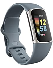 Fitbit Charge 5 Advanced Fitness & Health Tracker with Built-in GPS, Stress Management Tools, Sleep Tracking, 24/7 Heart Rate and More, Platinum/Mineral Blue, One Size (S &L Bands Included)