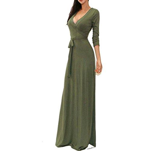 (ARINLA 2018 Summer popular solid V neck 3/4 sleeve wrap waist long maxi dress)