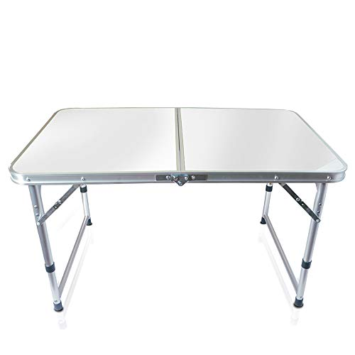 (Folding Table, Outdoor Table Adjustable Height Camping Portable Folding Table Square, Picnic Table Camping Lightweight with Extended Legs, White)