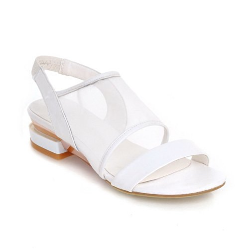UK Ferse VogueZone009 Womens Open Sandalen Solid Niedriger Weiß 5 Toe Mesh Weiches 3 Material AwO1gwqxI