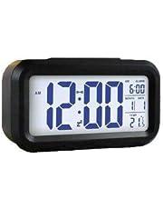 Black Digital Alarm Clock LED Light Control Backlight Time Calendar Thermometer AA0132
