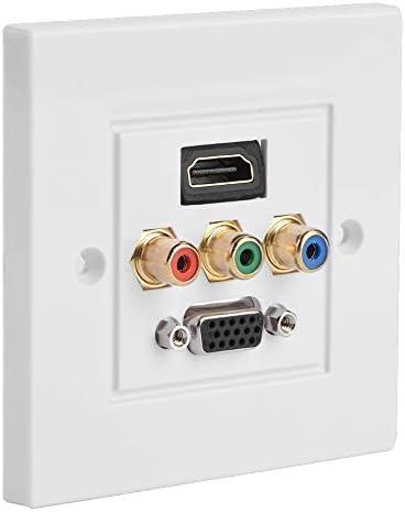 HDMI VGA 3RCAwandcontactdoos Multimediapaneelaansluiting wandpaneelaansluiting paneelaansluitstekker Flexibele verbinding Geen lassen voor kantoor voor thuis