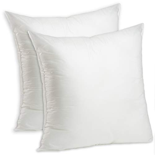 Set of 2-24 x 24 Premium Hypoallergenic Stuffer Pillow Insert Sham Square Form Polyester, Standard/White - Made in USA by Foamily