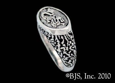 Sterling Silver Asha'man Dragon ™ Signet Ring Officially Licensed Robert Jordan Wheel of Time ® Jewelry by Raven Blackwood
