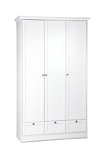 Landhaus Kleiderschrank, Schlafzimmerschrank, 3 Türig, (B/H/T: 120 X 200 X  51), Weiß, Möbelgriffe Antik: Amazon.de: Küche U0026 Haushalt