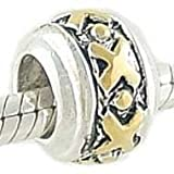 Sterling Silver & 14k Gold Hugs and Kisses Bead Fits European Charm Bracelet