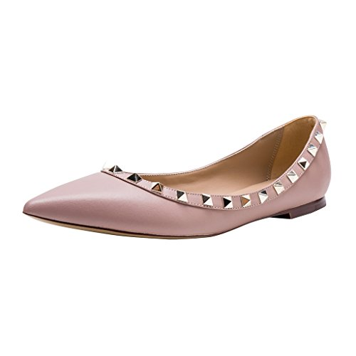 Ballerina Flats Matte Pointed Gold Leather Pan Poudre Toe Nude Studs Trim Studded Kaitlyn P8TRIxnn